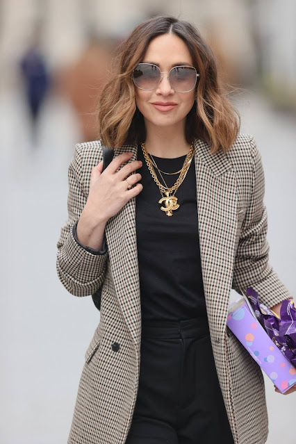 Myleene Klass – In blazer and gold chains out in London