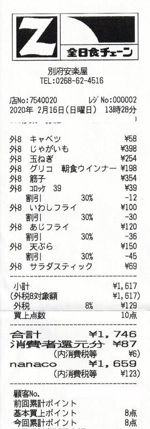 安楽屋 別府総本店 2020/2/16 のレシート