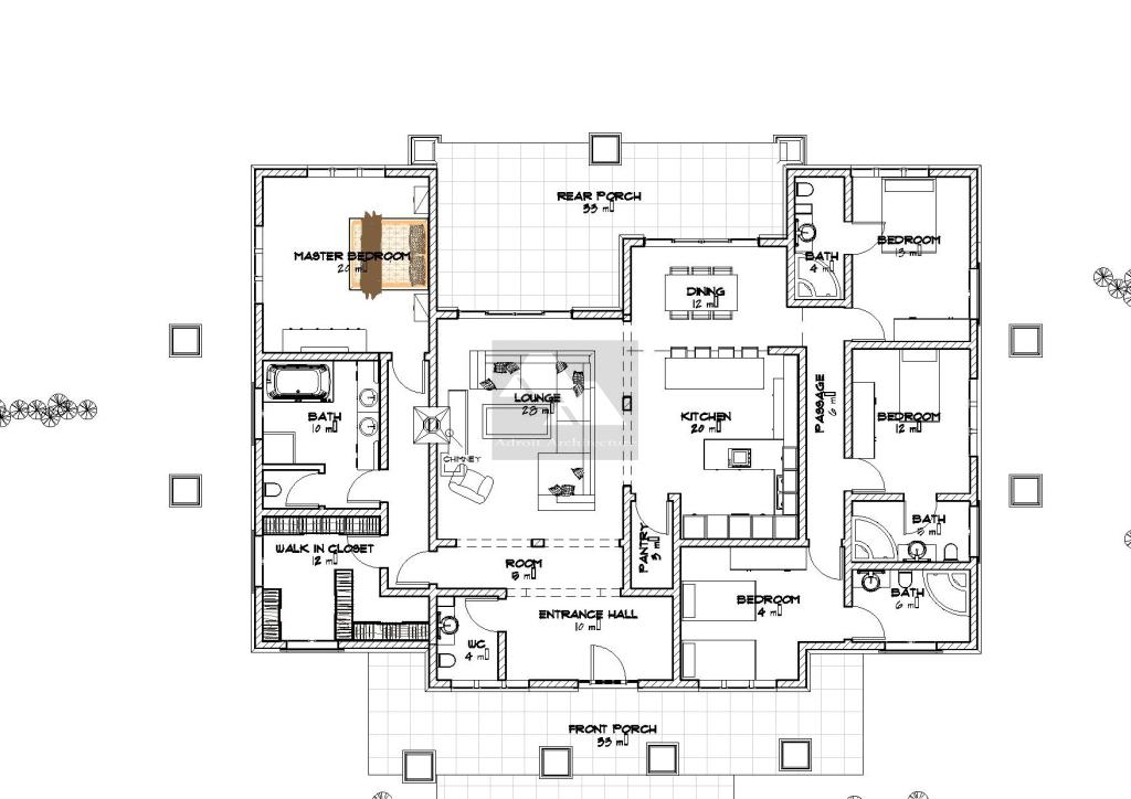 myhouseplanshop four bedroom bungalow house plan designed