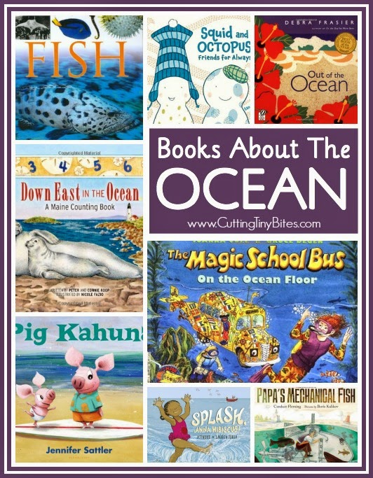 Book review list of ocean books for toddlers, preschoolers, and elementary aged children. Includes books about the ocean, fish and other sea life, and the beach.