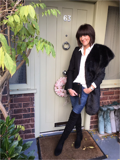 My Midlife Fashion, Schuh Dash Over the knee boots, Yosa Jane Clutch, Topshop White shirt, Zara Tuxedo Jacket, Faux fur stole