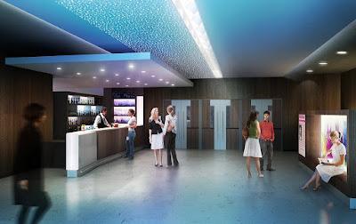 Perspective 3d hall et bar salle des fêtes buvette