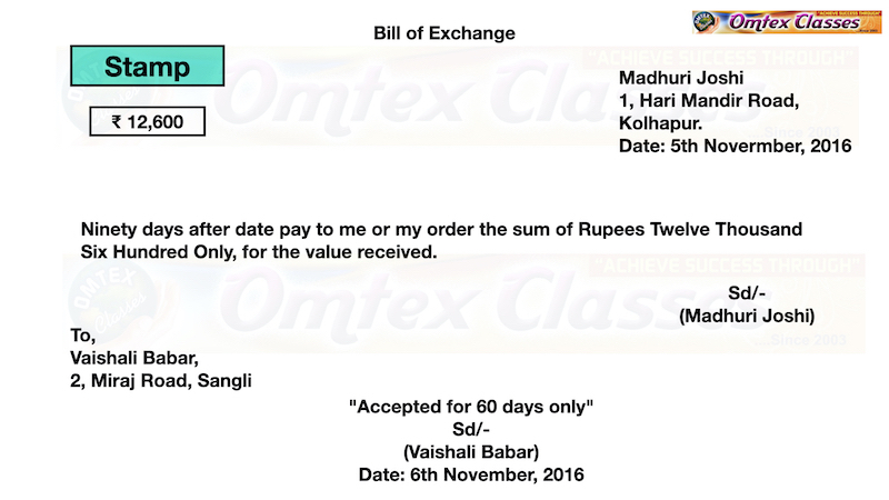 Prepare a format of Bill of Exchange from the following information
