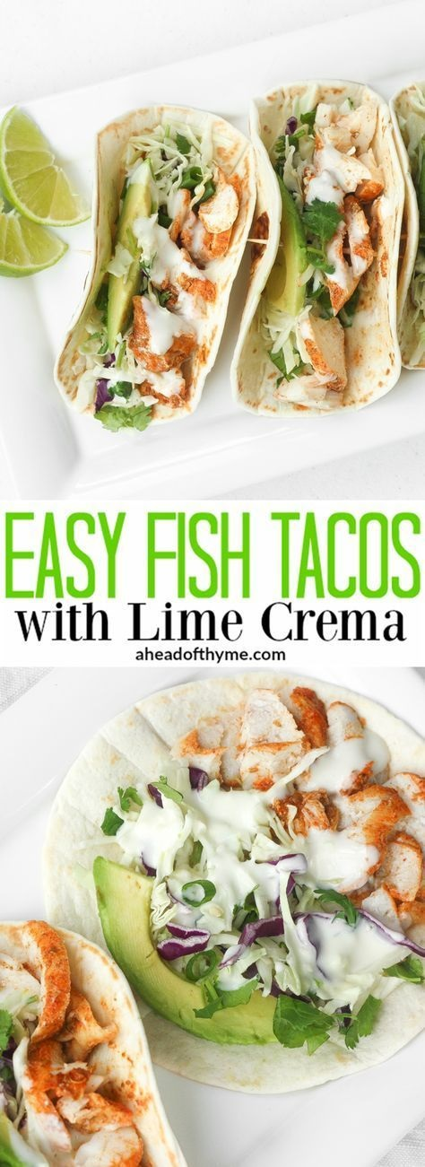 Easy Fish Tacos With Lime Crema