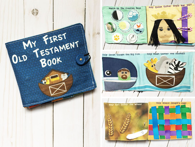 My First Old Testament Book Busy Book, Quiet Book, Fabric Book, No Screen Activity For On The Go to Teach Fine Motor Skills, Bible, Scriptures, Church, Weaving, Hair Styling, Finger Puppets, Queen Esther, Ruth, Joseph's coat, Jonah, Noah, Fat Quarter Cut and Sew Fabric Craft
