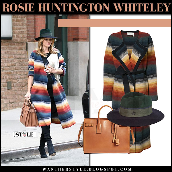 Rosie Huntington-Whiteley in striped chloe coat, black jeans with brown ysl bag what she wore april 2017 streetstyle