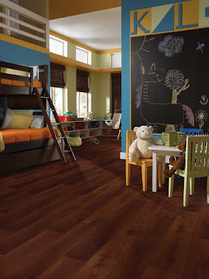 Beautiful and practical hard surface floor in this kid-friendly room