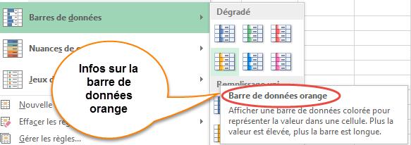 Barre de données orange sélectionnée