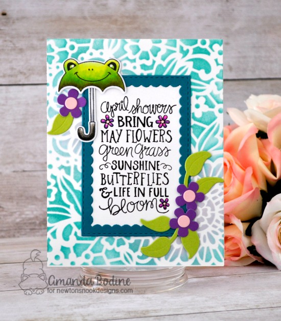 April Showers Card by Amanda Bodine | April Showers and Umbrella Pals Stamp Sets, Flower Trio and Framework Die Sets and Floral Lace Stencil by Newton's Nook Designs #newtonsnook