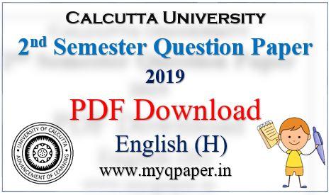 Calcutta University English Honours Question Paper 2019 Download  PDF