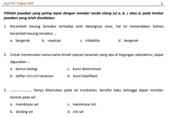 Soal TO UN IPA SMP 2018 PDF
