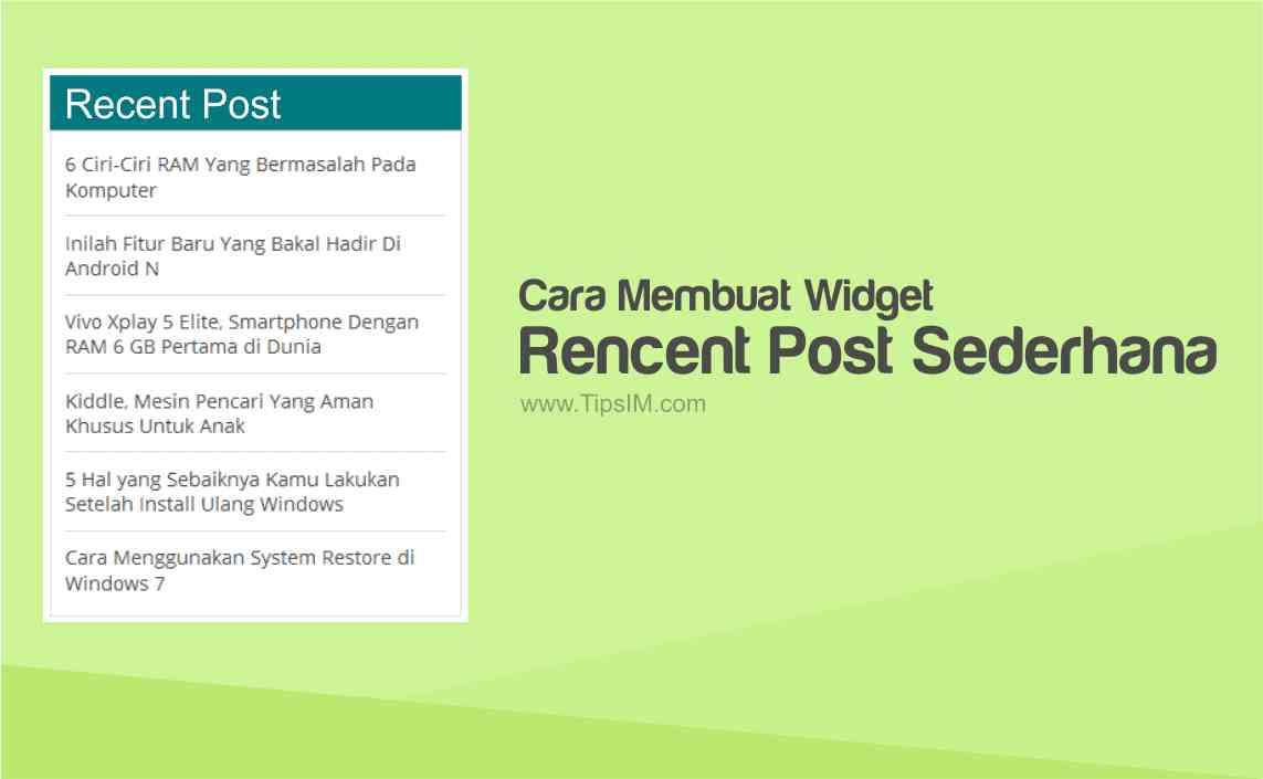 Cara Membuat Widget Recent Post Sederhana