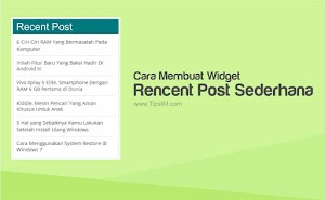 Cara Membuat Widget Recent Post Sederhana