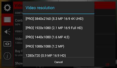 التصوير بدقة 4K من خلال النسخة المدفوعة من التطبيق