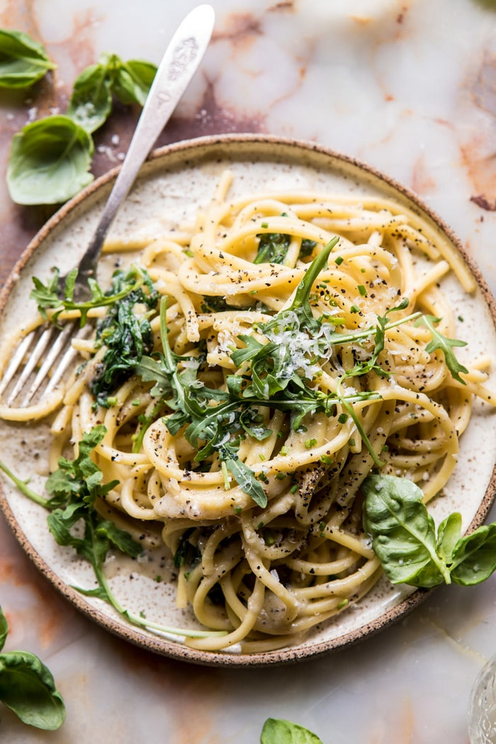 Cacio e pepe with arugula and lemon #pasta #maincourse #quickmeal