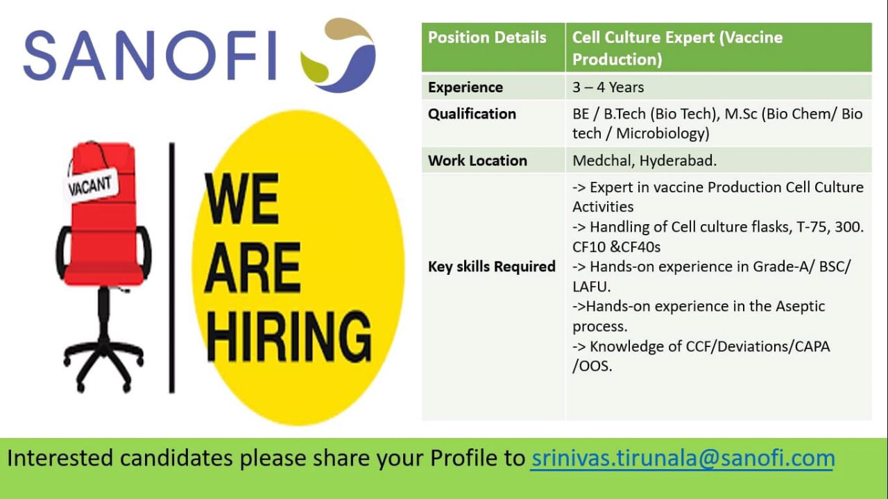 Sanofi India – Job Opening for Cell Culture Expert | Apply Now