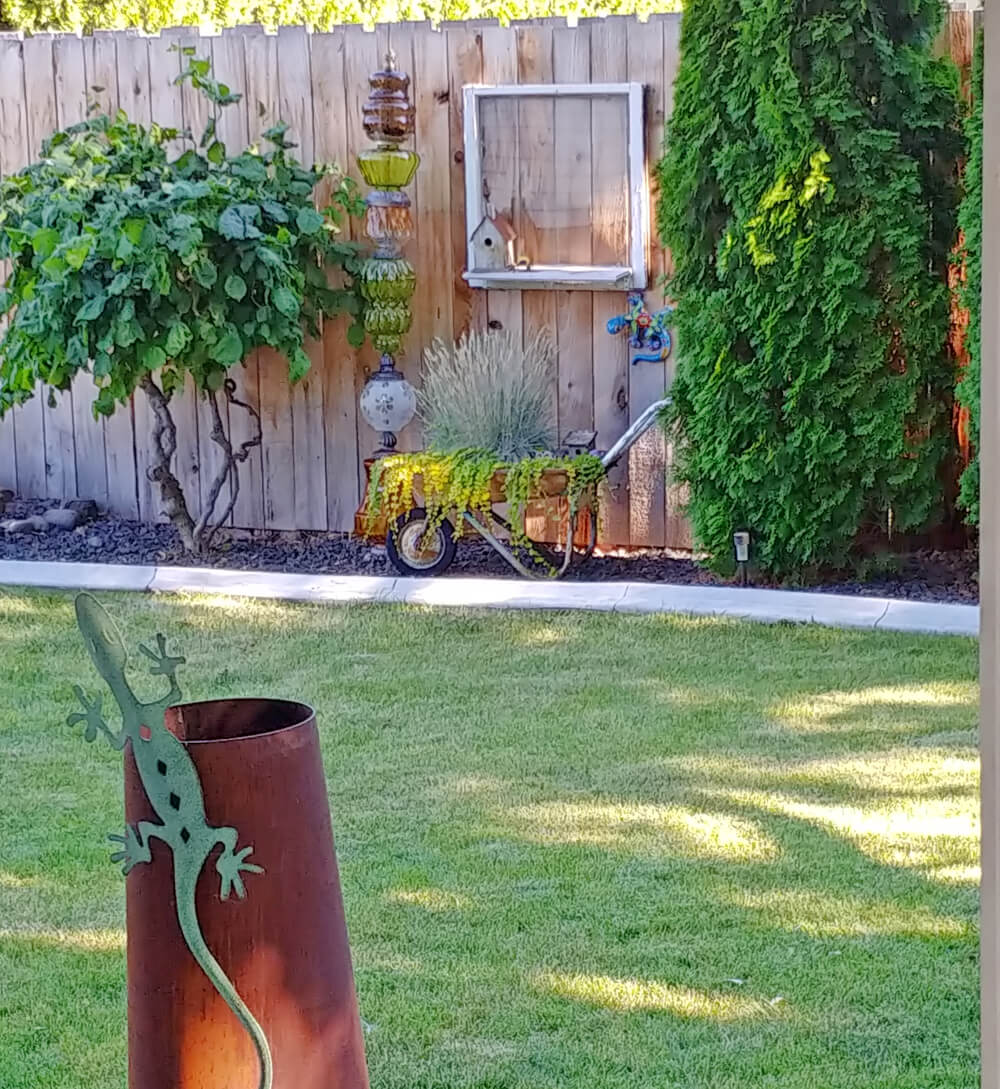 Upcycled Lamp Garden Totem