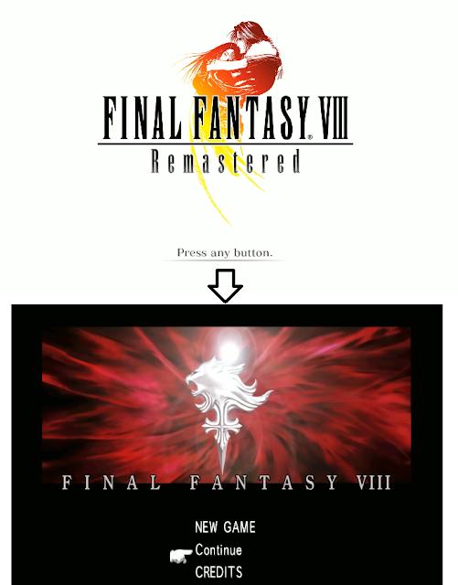 Final Fantasy VIII Remastered title screens PlayStation original
