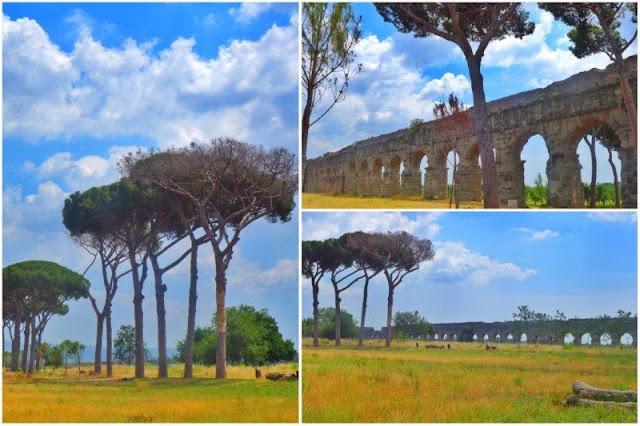 Acueducto y árboles en el Parco degli Acquedotti en Roma