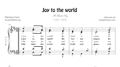 Joy to the world Partitura de CORO SATB a 4 voces Letra en inglés Al mundo paz