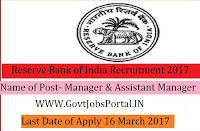Reserve Bank of India Recruitment 2017- Manager &Assistant Manager