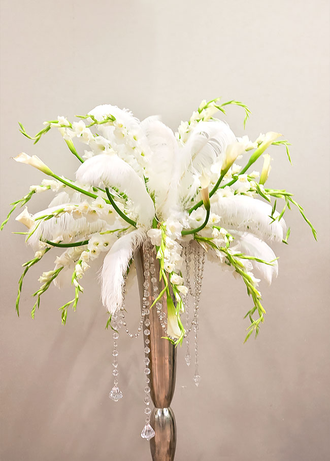 1920s feather floral arrangement
