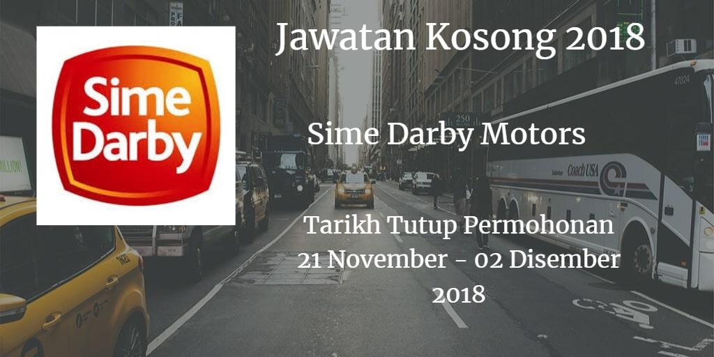 Jawatan Kosong Sime Darby Motors 21 November - 02 Disember 2018