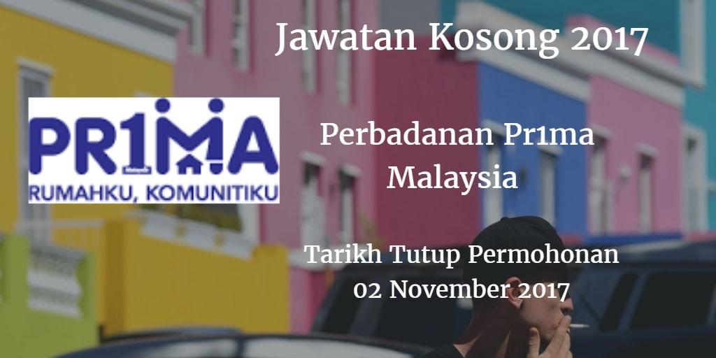 Jawatan Kosong Perbadanan Pr1ma Malaysia  02 November 2017