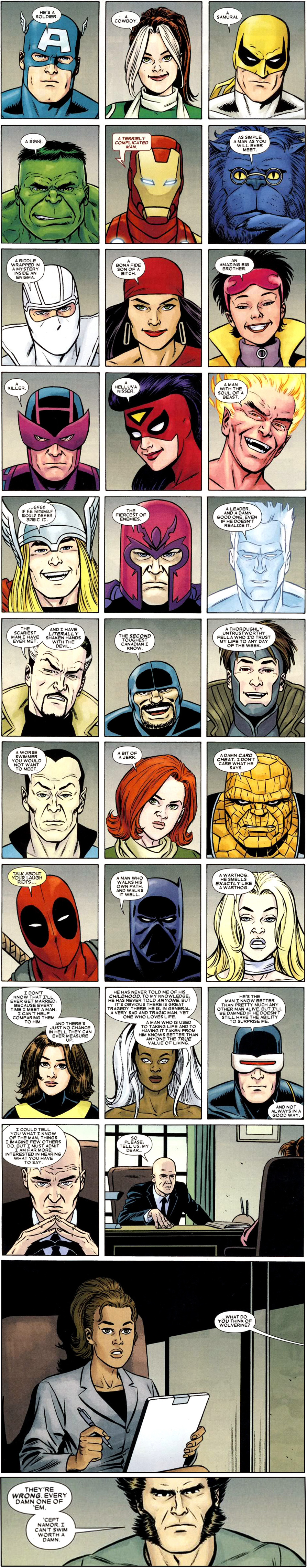 Characters share their thoughts on Wolverine