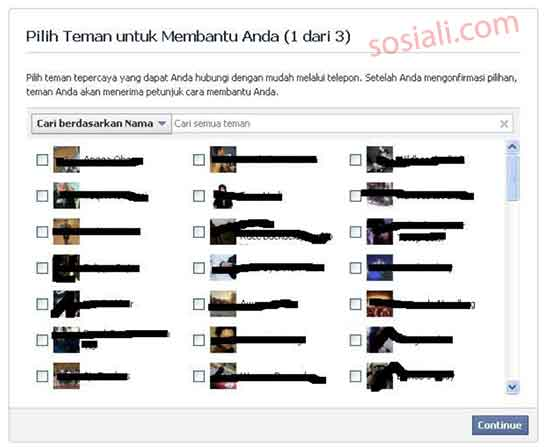 pilih teman facebook