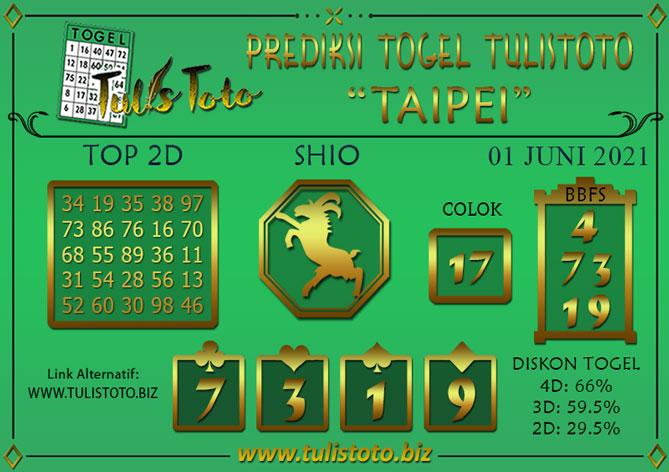 Prediksi Togel TAIPEI TULISTOTO 01 JUNI 2021