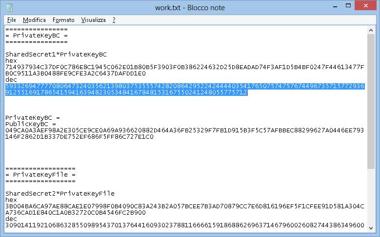 Work.txt e SharedSecret1*PrivateKeyBC