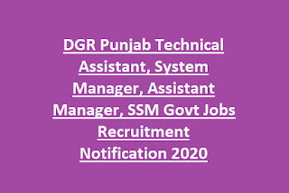 DGR Punjab Technical Assistant, System Manager, Assistant Manager, SSM Govt Jobs Recruitment Notification 2020