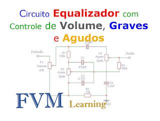 Equalizador Passivo 2 bandas com Controle de Volume, Graves e Agudos
