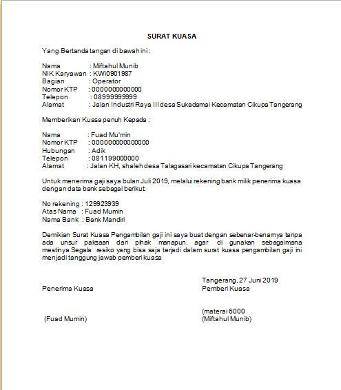 Surat Kuasa Pengambilan Gaji