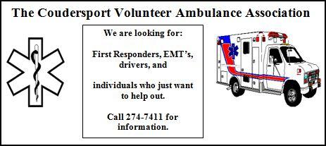 Coudersport Ambulance Seeking First Responders