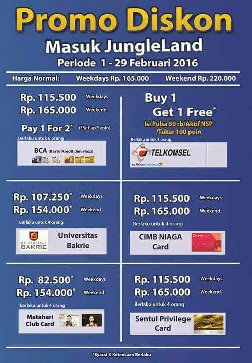 Promo Harga Tiket Masuk Jungleland 1 - 29 Februari 2016