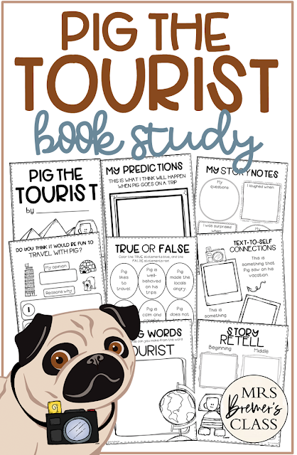 Pig the Tourist book study activities unit with Common Core aligned literacy companion activities for Kindergarten and First Grade