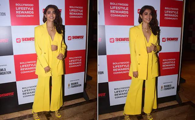 Pooja Hegde Looks Smashing in Yellow Pantsuit