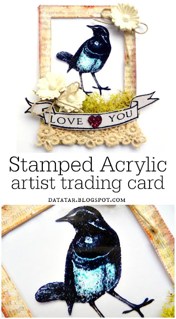 Love You Bird Stamped Acrylic Artist Trading Card by Dana Tatar