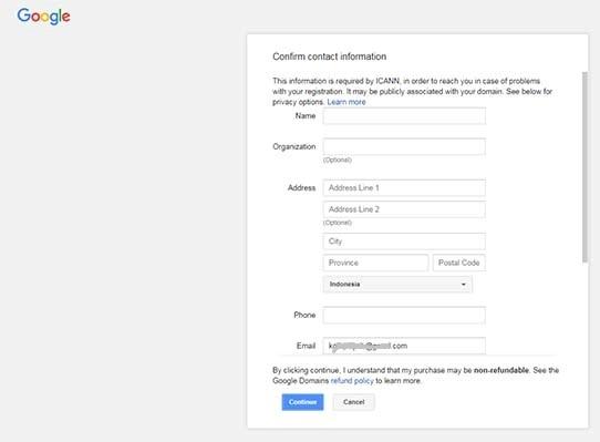 Formulir Pendaftaran di Google Domain
