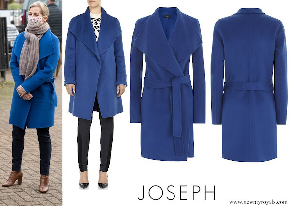 The Countess of Wessex wore JOSEPH Blue Lisa Long Cashmere Wrap Coat