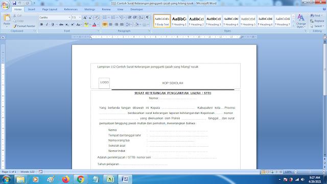 Contoh Format Terbaru Surat Keterangan pengganti ijazah yang hilang/rusak