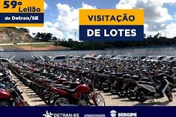 Visitação aos lotes do 59º Leilão do Detran/SE será iniciada na próxima terça-feira