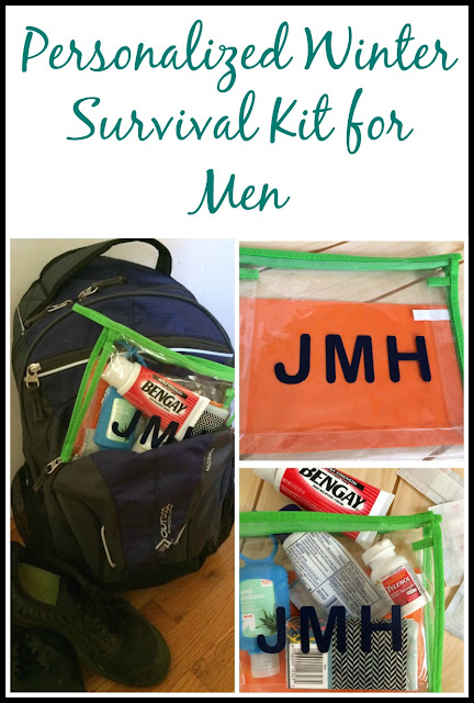 Make your favorite guy a winter survival kit and personalize it by adding their initials to it, using adhesive vinyl.