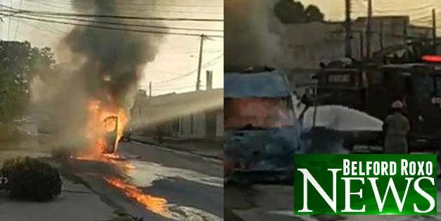 Van de transporte alternativo pega fogo no Bom Pastor em Belford Roxo