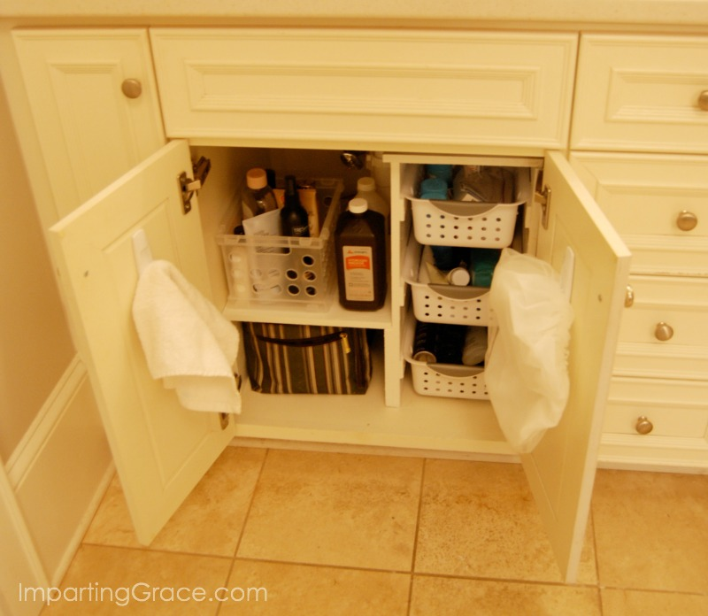 Imparting Grace: DIY Bathroom cabinet organization
