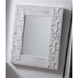 espejo recibidor blanco rustico