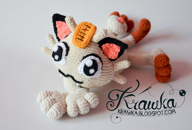 Krawka: Meowth cat pokemon crochet pattern by Krawka.