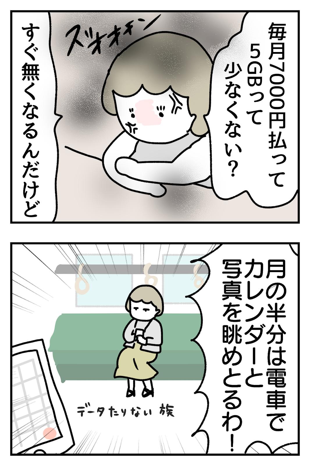 携帯のデータ量がすぐなくなって電車でカレンダーを眺める人の漫画